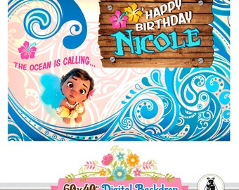 MOANA Backdrop, Moana Printable Backdrop, Moana Birthday Decorations,Sweet Table Decoration,Moana Birthday Party,Moana Photobooth,Background