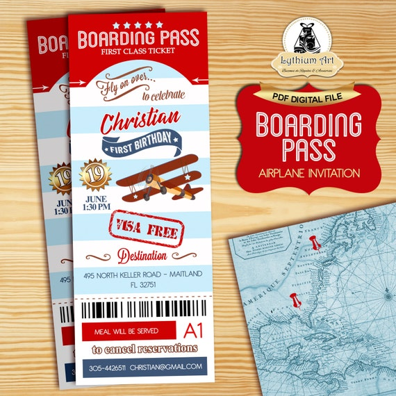 Airplane Ticket Boarding Pass Birthday Invitation: Airplane Boarding Pass Invitation Vintage Airplane Birthday