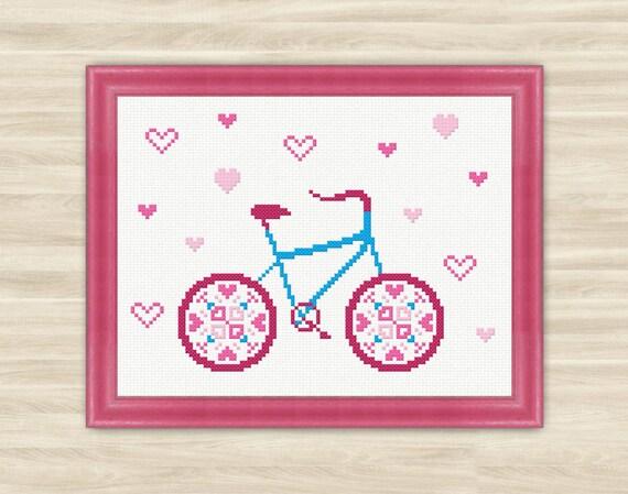 Buy 2 get 1 free Love bicycle Cross Stitch Pattern PDF Valentine ...