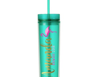 Flamingo Skinny Vacation Cruise Tumbler, Custom Personalized, Hawaii Tumbler