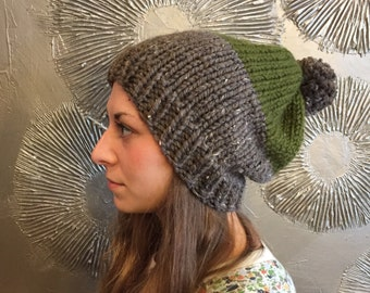 Knit slouchy beanie knit hat chunky slouchy hat chunky knit wool hat winter beanie PACKARD POM BEANIE