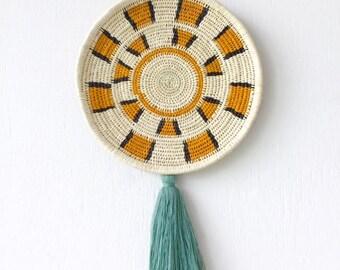 Chunga Round - Sage, wall basket, rattan basket, wall plate, rattan plate, woven plate, woven basket, tribal hanging, wall decor