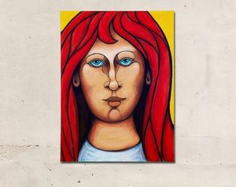 Red Leoness, Folk Art Painting, Modern Folk Art, Red Hair, Modern Art, Acrylic Painting, Original Art by JP Goodman.