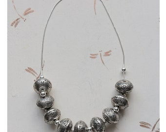 Vintage Sterling Silver Carved Beads Necklace