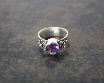 Unique Amethyst Ring, Silver Amethyst Ring, Statement Ring, Urchin Jewelry, Faceted Amethyst Ring, Amethyst Ring, Unique Ring, Urchin Ring