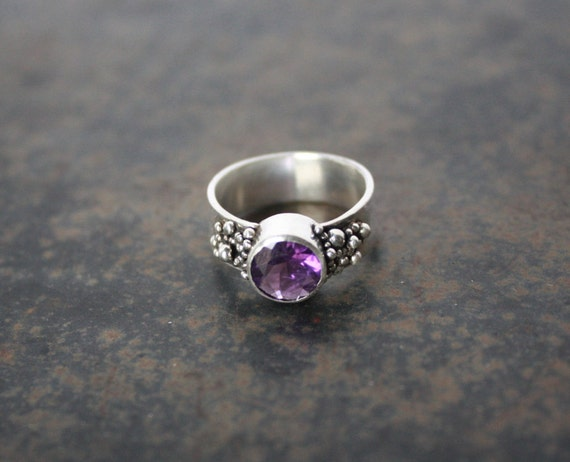 unique amethyst ring silver amethyst ring statement ring