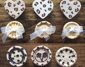 Wood Burned Magnets Set of 6 in Leopard Print, Bows and Buttons