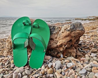 Toe Ring Sandals, Green Leather Sandals, Greek Sandals, 100% Cow Leather, Handmade in Greece.