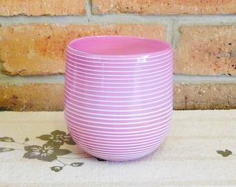 Melinda Fraser hand blown cylinder art glass bowl or vase, pink with white candy stripes, signed by artist