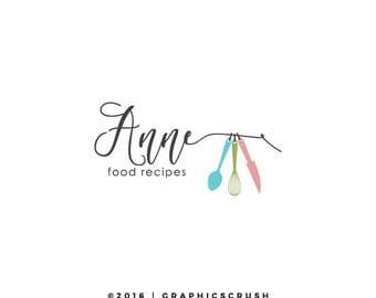 Food Blog Logo - Food Logo Design - Chef Logo - Kitchen Logo - Cooking Logo - Logo Design - Spoon and Knife Logo