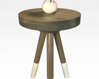 Modern Side Table in Gray and White by Candlewood Furniture End Table Bar Stool, Bedside Table, Nightstand, Wood, Wooden, Three Legged Table