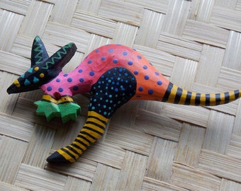 Hand-Painted Wooden Kangaroo Pin Brooch with Vibrant Colors