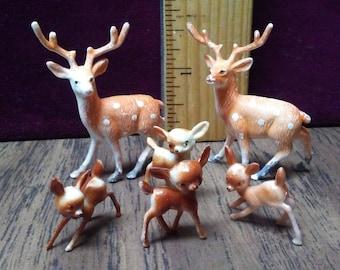 6 MINIATURE DEER,Fibre Craft,Fawns,Terrariums,Cactus and Dish gardens,Mixed Media Art,Dioramas,Cake topper,Craft supply,Deer figurines