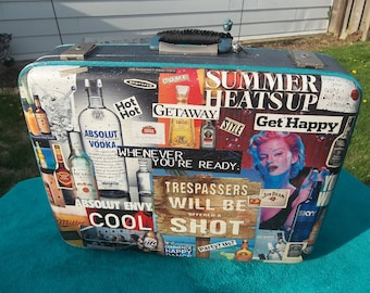 Alcohol/Liquor Themed Vintage SUITCASE UP-CYCLE Painted & Decoupaged Awesome Luggage