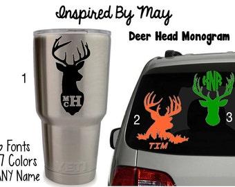 Deer Head Monogram - Custom, Yeti, Personalized