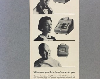1957 Burroughs Adding Machines 1/2 Page Print Ad - Thriftline - Director - Ten Key