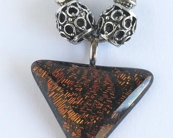 Amber colored glass necklace with silver chain and beads