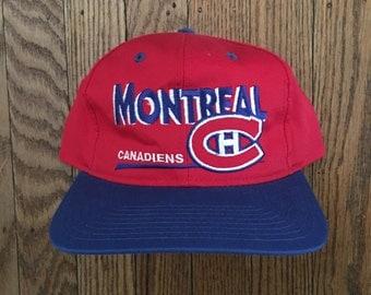 Vintage 90s Deadstock Montreal Canadiens NHL Snapback Hat Baseball Cap