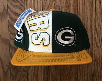 Vintage 90s Deadstock Green Bay Packers NFL Snapback Hat Baseball Cap