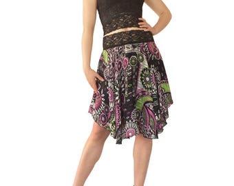 Purple Flower Power Chiffon Circle Tango Skirt