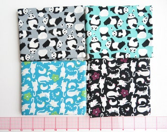 Sale~Japanese Sevenberry Fabric 4 half yard Bundle | Pandas Cats | 100% Cotton Sheeting Fabric