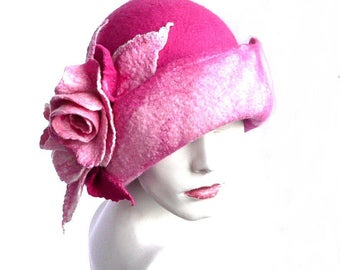 Pink felt hat felt Cloche hat felted hat Hat Fapper 1920 Hat Art Pink Hat Cloche Victorian 1920's Women's hat roses Downton Abbey hats