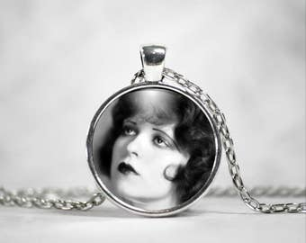 Clara Bow Necklace, 25mm Pendant, Hollywood Actress