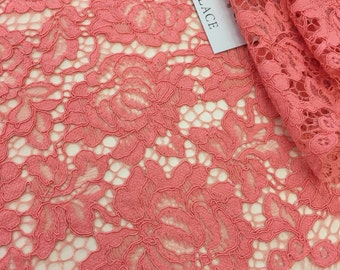 bright  pink lace fabric, French Lace,  lace, salmon pink Chantilly lace  K00394