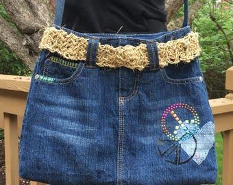 Denim Purse, Blue Jean Bag, Blue Jean Purse, Upcycled Denim, Lined Denim Purse, Handmade Denim Purse, Embellished Purse, Twine Belted Purse