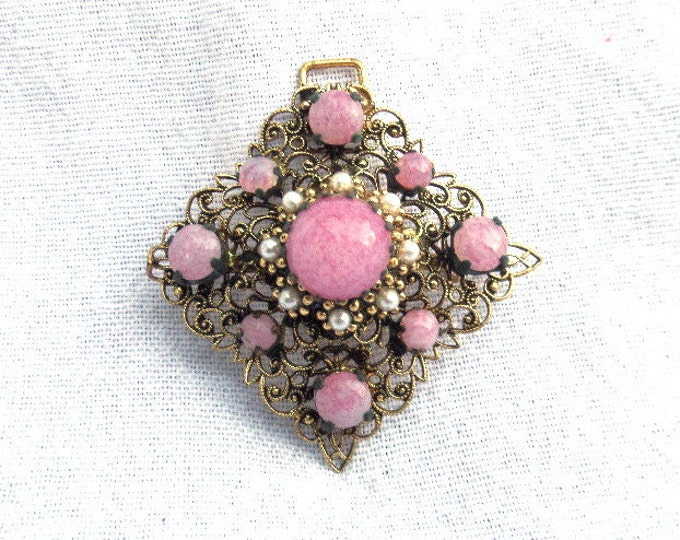 """FREE SHIPPING Necklace Pendant with Pink Cabachons and Pearls, Antique Victorian Filigree, Gold Plated Metal Square, 2"""" x 2"""" Exquisite"""
