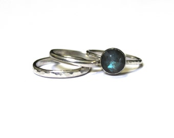 Labradorite Stacker Ring Set