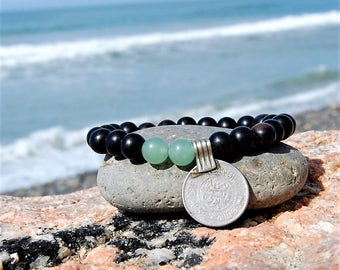 mala bracelet; aventurine brings strong healing for mind, body, and spirit; semiprecious stone; ebony; wood; vintage coin