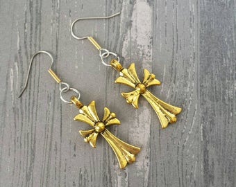 Rustic Gold Cross Earring (Made with surgical steel hooks)