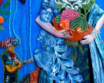 """Frida Kahlo Women Who Dream Series """"Frida de las Naranjas""""  Art Print of original collage"""