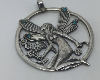 Fairy pendant,Fairy necklace,turqoise pendant,turqoise stone,turquoise jewelry,stone pendant,gemstone pendant,Fairy jewelry,Fantasy necklace