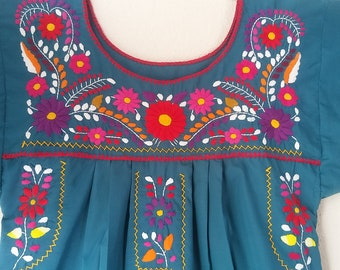 Embroidery mexican Dress, Mexican Blue gray embroidered dress, Mexican boho dress, Mexican ethnic dress, mexican clothing, Hippie dress