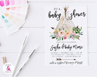 Floral Teepee Girl Baby Shower Invitation, Bohemian, Arrows, Tee Pee, Watercolor Flowers [491b]