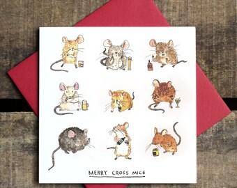 Merry Cross Mice - Greetings Card - Christmas Card - Humour - Pun