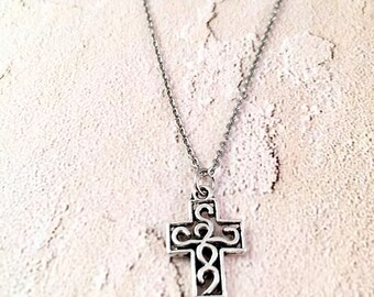 Silver cross necklace, scroll cross jewelry, religious necklace, gift for women, small cross jewelry,  first communion, confirmation gift