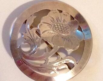 Vintage Silver Flower Brooch