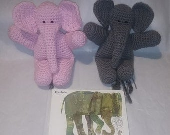 "Crocheted Elephant Stuffed Animal with Optional ""Do You Want to be My Friend?"""