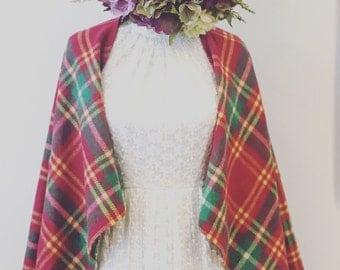 Wedding dress shawl, flannel shawl, flannel cape, rustic wedding cape