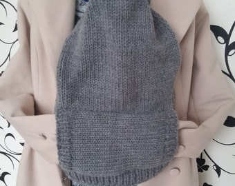 Grey Knitted and Fleece Baby Carrier Cover and Hoodie with Front Pocket Baby Wrap Cover Beyond Fashion