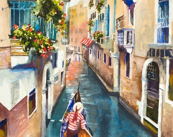 Venice watercolor painting, Italian art, European art, gondola painting