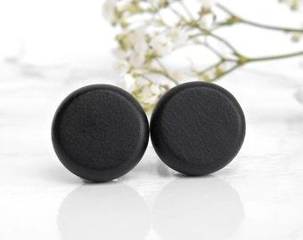 Black Stud Earrings - Black Studs For Men - Post Earrings - Sterling Silver Earrings - Hypoallergenic Studs - Mens Studs