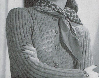 Vintage 40s Knitting Pattern - Woman's Cardigan from 1946 - instant download PDF - 1940's Retro Top
