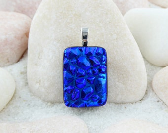 Blue fused glass dichroic pendant, textured blue pendant, small blue pendant, dichroic blue necklace