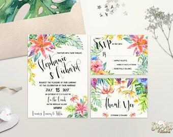 Tropical Wedding Invitation Printable Destination Wedding Invite Beach Wedding Invitation Suite Hawaii Hibiscus Wedding Invite Digital File