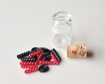Miniature Liquorice Sweets in Glass Jar | Dollhouse Miniature Food