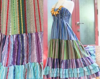 Sale 50% Disc, Cotton Dress / Skirt, Hippie Gypsy Boho, Tiered Peasant Prairie Strapless Dress, Elastic Waist Skirt, Blue, Green